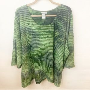 Catherine's l Plus Size Green Ruffled Blouse